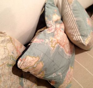 world map fabric cushions