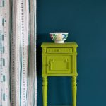 Firle-side-table,-Wall-Paint-in-Aubusson-Blue,-Piano-in-Provence-curtain,-Ticking-in-Graphite-lampshade,-72dpi-image-2